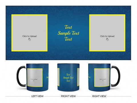 Dark Blue Flower Pattern Background With Yellow border Design On Dual Tone Black Mug