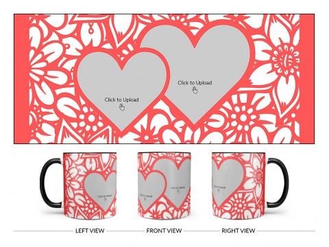 Flower Pattern Background With 2 Love Symbol Pic Upload Design On Dual Tone Black Mug