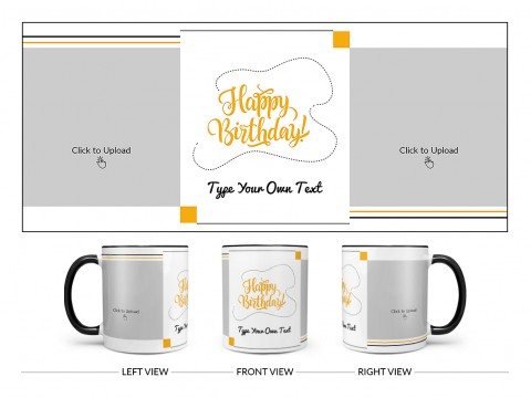 Boy Friend Birthday With 2 Square Pic Upload Design On Dual Tone Black Mug