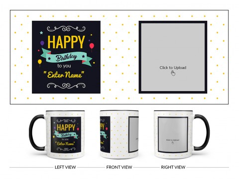Boy Friend Birthday Yellow Dots Background Design On Dual Tone Black Mug