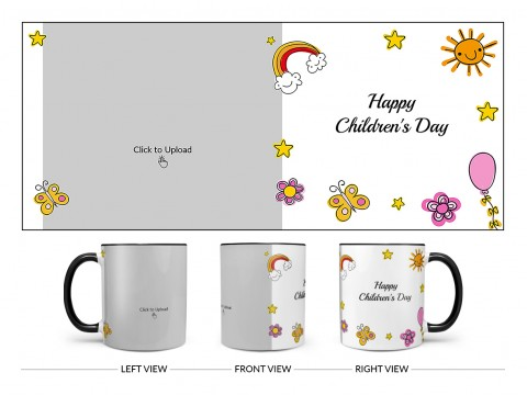 Childrens Day With Cartoon Objects Design On Dual Tone Black Mug
