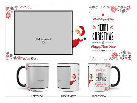 We Wish You A Very Merry Christmas Design On Dual Tone Black Mug