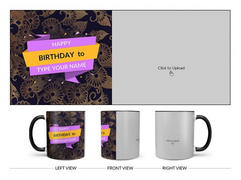 Happy Birthday With Gold Floral Background Design On Dual Tone Black Mug