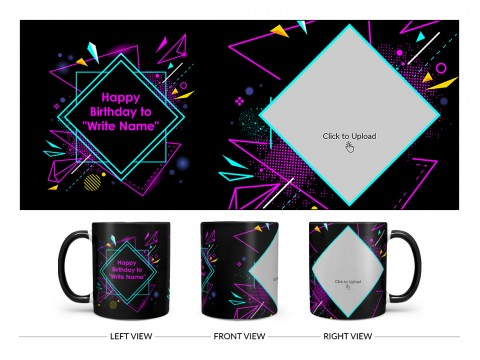 Friend Birthday Colourful DJ Background Design On Dual Tone Black Mug