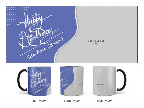 Blue Wave Design With Happy Birthday Text Design On Dual Tone Black Mug