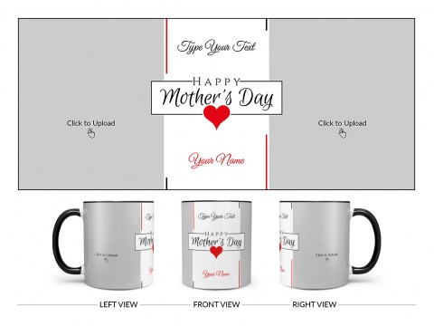 Happy Mother's Day With 2 Pic Upload Design On Dual Tone Black Mug