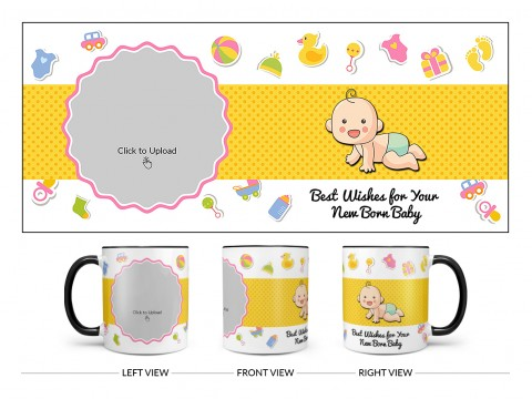 Best Wishes For Your New Born Baby Design On Dual Tone Black Mug