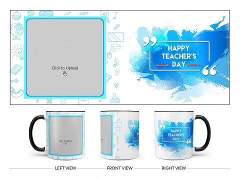 Happy Teacher's Day Design On Dual Tone Black Mug
