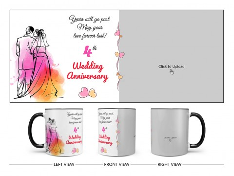 Wedding Anniversary Design On Dual Tone Black Mug