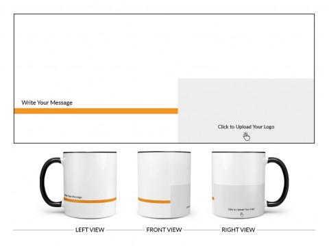Corporate Mug With Company Message Design On Dual Tone Black Mug