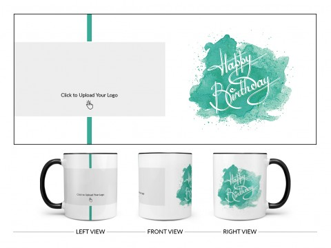Corporate Mug With Birthday Message Design On Dual Tone Black Mug