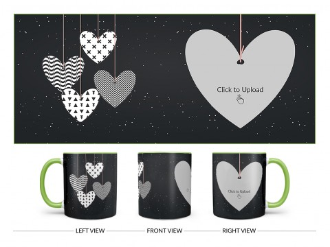 Heart Symbols Hanging In The Sky With Stars Background Design On Dual Tone Light Green Mug