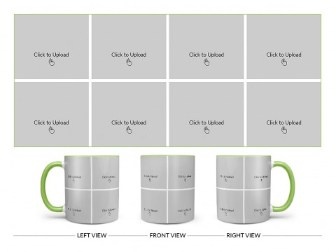 8 Pic Upload Design For Any Occasions & Event Design On Dual Tone Light Green Mug