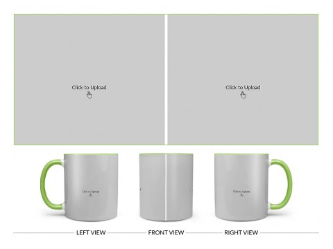 2 Large Pic Upload Design For Any Occasions & Event Design On Dual Tone Light Green Mug