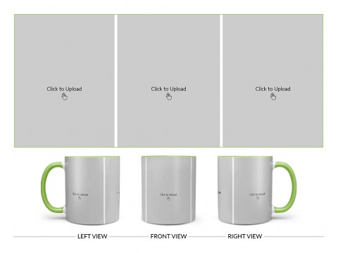 3 Equal Pic Upload Design For Any Occasions & Event Design On Dual Tone Light Green Mug