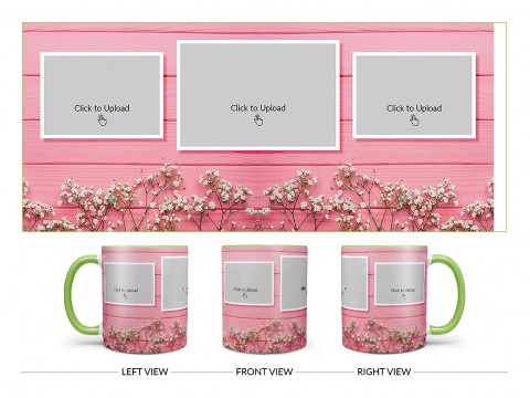 Wooden Wall With Small Flowers 3 Pic Upload Design On Dual Tone Light Green Mug