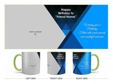 Wishing You A Birthday Filled With Sweet Moments Quote Design On Dual Tone Light Green Mug