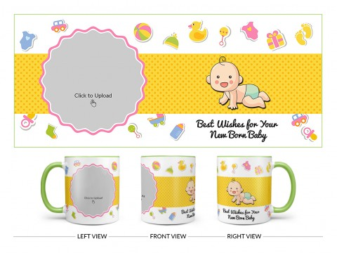Best Wishes For Your New Born Baby Design On Dual Tone Light Green Mug