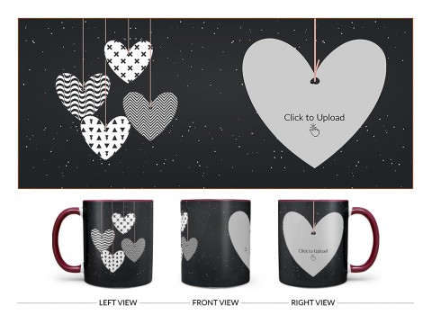 Heart Symbols Hanging In The Sky With Stars Background Design On Dual Tone Maroon Mug