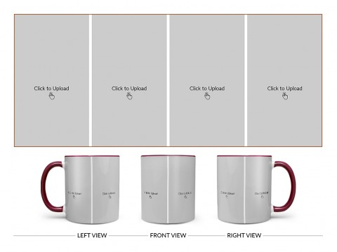 4 Vertical Pic Upload Design For Any Occasions & Event Design On Dual Tone Maroon Mug