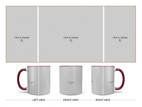 3 Vertical Pic Upload Design For Any Occasions & Event Design On Dual Tone Maroon Mug