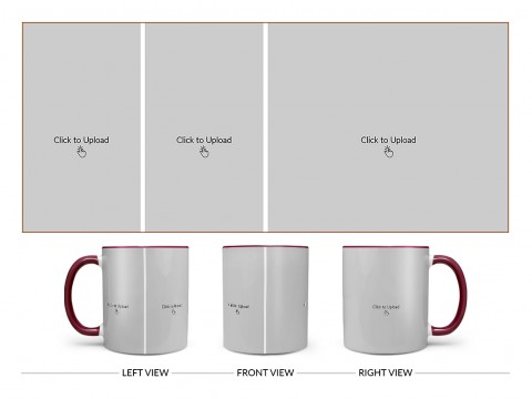 3 Pic Upload Design For Any Occasions & Event Design On Dual Tone Maroon Mug
