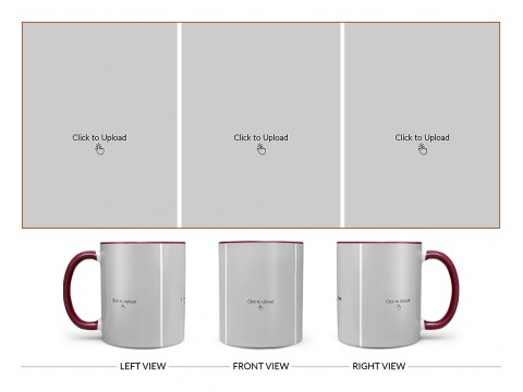 3 Equal Pic Upload Design For Any Occasions & Event Design On Dual Tone Maroon Mug