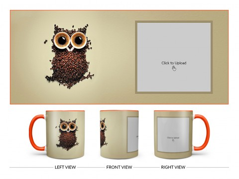 Coffee Beans For Coffee Lovers Design On Dual Tone Orange Mug