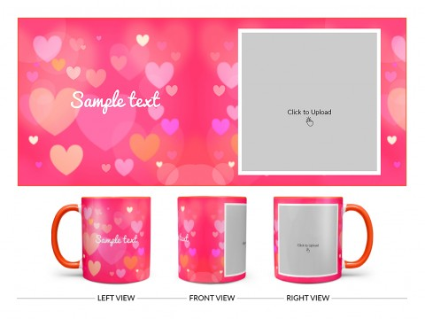 Heart Symbols With Dark Pink Background Design On Dual Tone Orange Mug