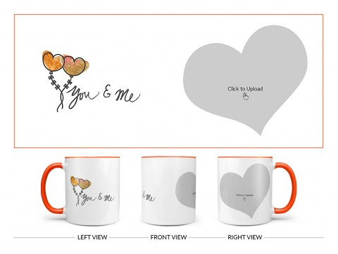 You & Me Design On Dual Tone Orange Mug