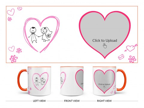 Couple In Wedding Celebrations Design On Dual Tone Orange Mug