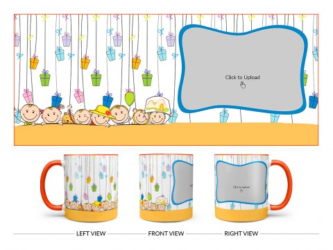 Multiple Kids Behind The Wall And Gifts Pattern Background Design On Dual Tone Orange Mug