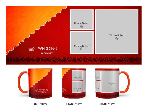 Wedding Memories With Traditional Background Design On Dual Tone Orange Mug