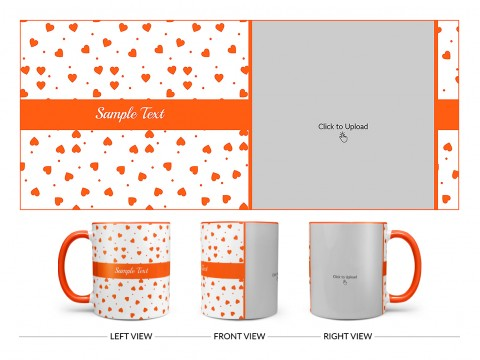 Heart Symbols Pattern Background Design On Dual Tone Orange Mug