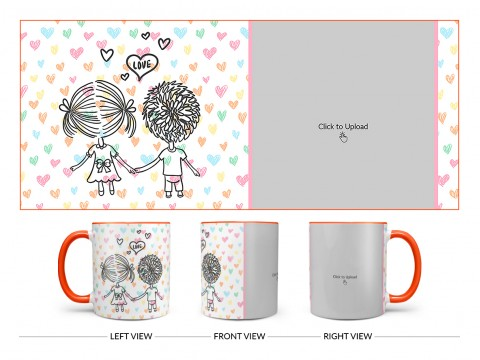 Young Couple Starting Journey For Love / Life Design On Dual Tone Orange Mug