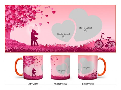 Young Couple In Love World Design On Dual Tone Orange Mug