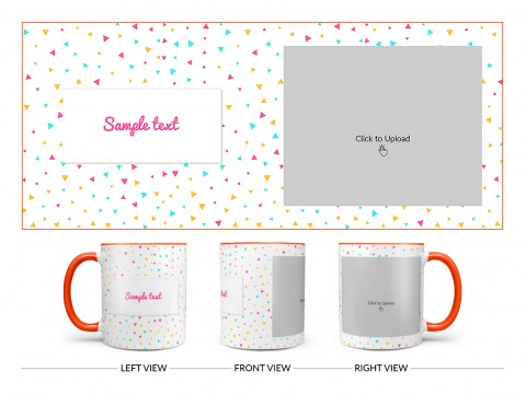 Colourful Triangles Pattern Background Design On Dual Tone Orange Mug