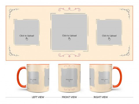 Cream Colour Floral Ornament Border With 3 Pic Upload Upload Design On Dual Tone Orange Mug
