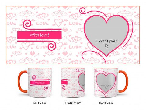 Love Pattern Background With Pink Heart Design On Dual Tone Orange Mug