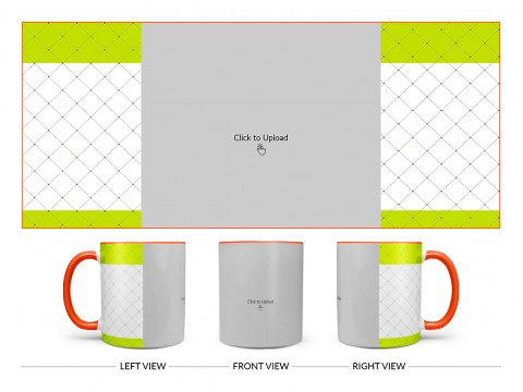 Green borders With Dotted Line Background Design On Dual Tone Orange Mug