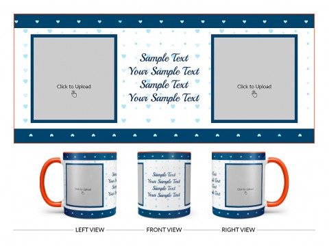 Dark Blue Love Symbols borders With Love Symbol Background Design On Dual Tone Orange Mug