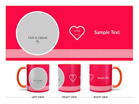 Dark Pink Love Symbols Pattern Background With Oval Shape Pic Upload Design On Dual Tone Orange Mug