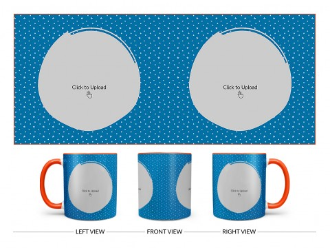 Dark Blue Background With Stars Pattern Design On Dual Tone Orange Mug