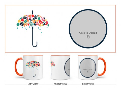 Flower Design Umbrella Design On Dual Tone Orange Mug