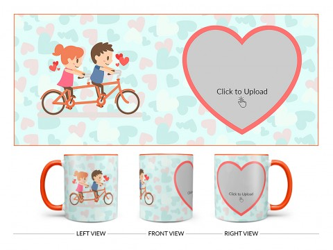 Couple Cycling In Love Symbol Pattern Background Design On Dual Tone Orange Mug