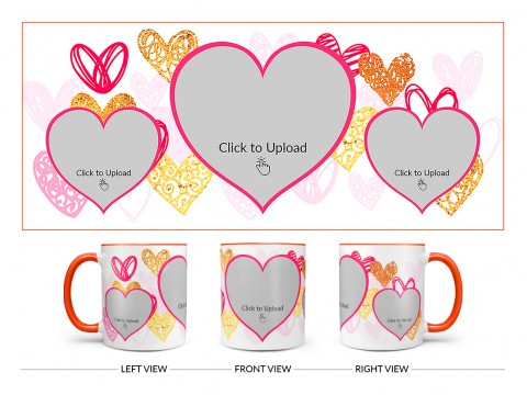 3 Heart Symbols Pic Upload With Golden Love Symbols Background Design On Dual Tone Orange Mug