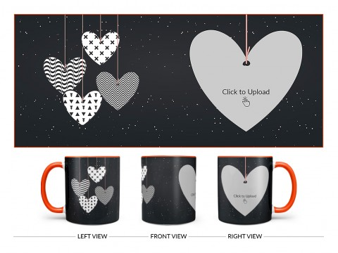 Heart Symbols Hanging In The Sky With Stars Background Design On Dual Tone Orange Mug