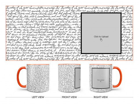 Cursive Writing Background With Square Pic Upload Design On Dual Tone Orange Mug