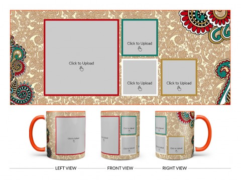 Traditional Background With 4 Pic Upload Design On Dual Tone Orange Mug