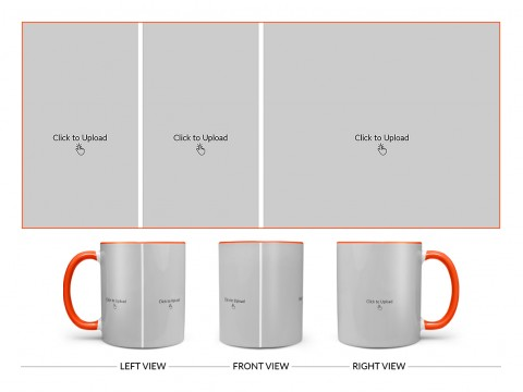 3 Pic Upload Design For Any Occasions & Event Design On Dual Tone Orange Mug